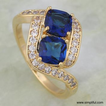Gold plated Square stone CZ Finger ring
