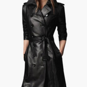 Black Notched Collar Leather Trench Coat