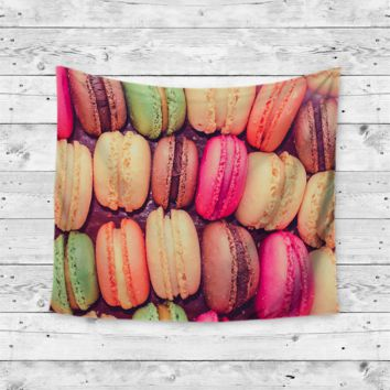 """Rainbow Cookies"" French Macaroon Wall Tapestry"