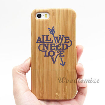 Real wood case, All we need is love, iPhone 5C case, iPhone 5S 5 case, Wood cover, Bamboo, FREE screen protector