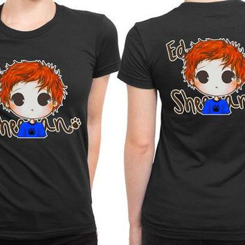 DCCKL83 Ed Sheeran Cartoon Scarlet 2 Sided Womens T Shirt