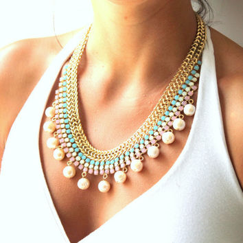 Bib Statement rhinestone necklace pink aqua and pearls  -  14k Gold plated necklace rhinestones and pearls.