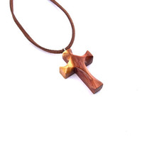 Wood Cross Necklace, Hand Carved Cross Pendant, Wood Pendant, Wood Jewelry, Carved Wood Cross, Wooden Jewelry, Wood Necklace, Cross Pendant