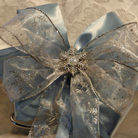 Lt  Blue Satin and Silver Snowflake Decorative Christmas/winter wedding bow