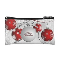 Merry Christmas Ornament in Silver and Red Cosmetic Bag