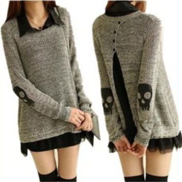 Skull Applique Twinset Sweater for Women Chiffon One-Piece Dress Punk Pullover Sweater (Color: Grey) [7956734279]