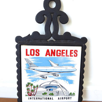 Vintage Los Angeles International Airport tile and cast metal trivet in excellent condition