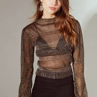 UO Kali Sheer Shimmer Mock Neck Top | Urban Outfitters