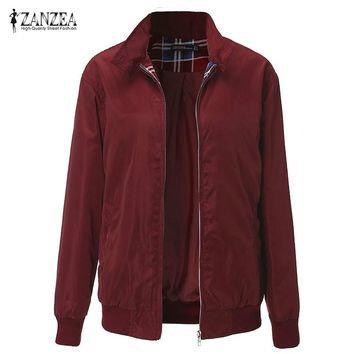 ZANZEA Winter Women Casual Outwear Long Sleeve Vintage Plaid Tartan Zippered Pockets Bomber Jacket Coat Plus Size