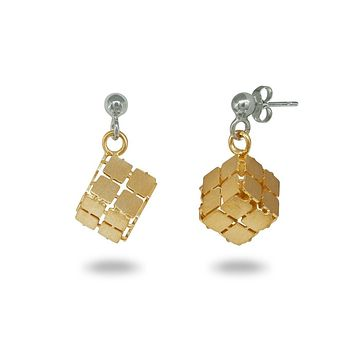 Gold Plated Dangling Cubes Earrings