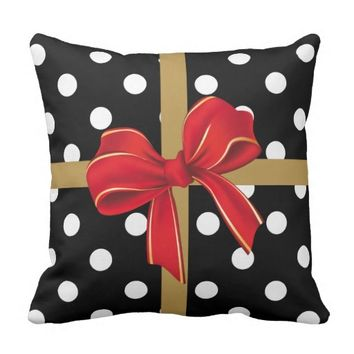 Christmas Pillow, modern gift wrap w/ bow Throw Pillows