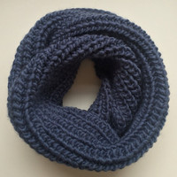 Chunky Scarf • Infinity Scarf • Fall/Winter Scarf • Thick Handmade Scarf • Wool/Acrylic Blend • Short MINI STANDARD Knit • Navy Blue •