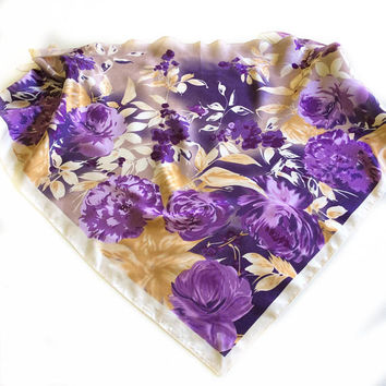 Plum scarf, Coworker gift, Purple Floral Triangle scarf, Satin Head Scarf, Gift for Her, Cover up Hip-scarf, Christmas gift for stockings