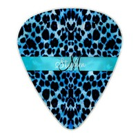 Personalized Baby Blue Leopard Print Guitar Pick Pearl Celluloid Guitar Pick