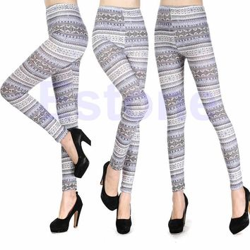 Free Shipping Womens Retro Triangle Geometry Clover Printing Soft Skinny Leggings Pants