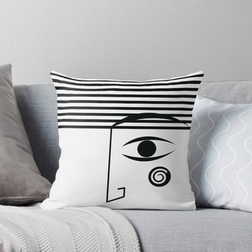 'Line face' Throw Pillow by Tas Lima