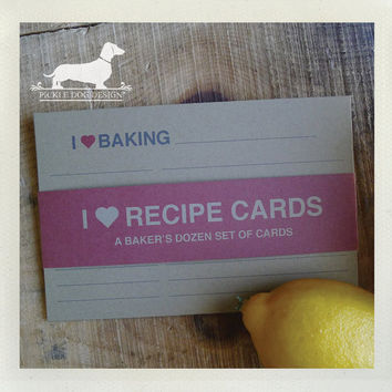 I Heart. A Baker's Dozen (Qty 13) Set of 4x6 Recipe Cards -- (Modern, Love, Red, Baking, Eating, Drinking, Cooking, Valentine Gift Under 15)