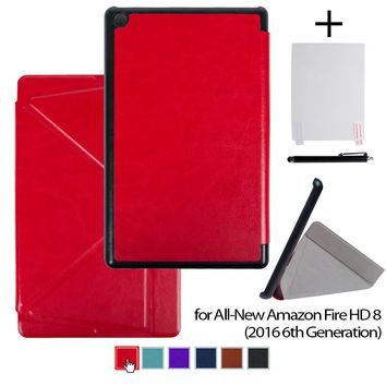 Case for all new Amazon fire hd 8 tablet 6th generation 2016 release stand cover case plus screen protector and stylus pen
