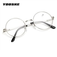 YOOSKE Retro Men Women Round Mirror Reading Glasses For Harry Potter Metal Frame Glasses Mirror Personalized + 100...+400