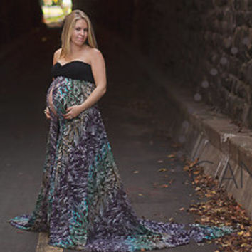 Aurora one of a kind Maternity Gown, Maternity Dress, Maternity Photography Prop, Long Gown, Maxi Dress, Sweetheart Top, Gown with a train