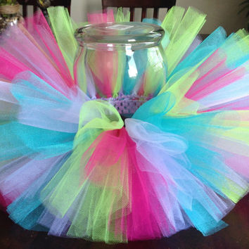 Tropical tutu, birthday tutu, hot pink lime green lavender blue white tutu, baby tutu, newborn tutu, toddler tutu, girl tutu, colorful tutu