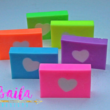 wedding soap favors, baby shower soap favors, heart soap, handmade soap, neutral baby shower, neon soap, bridal shower favors,  simple soap