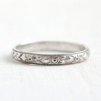Antique Art Deco Sterling Silver Orange Blossom Ring- Size 5 Flower Milgrain Eternity Wedding Band Hallmarked Uncas Forget Me Not Jewelry