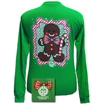 Girlie Girl Originals Christmas Gingerbread Man Prep Bow Long Sleeves T Shirtg