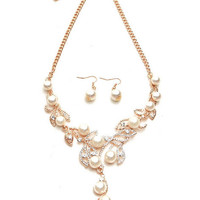 Pearl Necklace and Earring Set in Gold