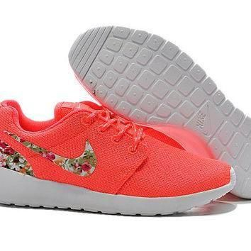 Tagre™ custom nike free roshe run athletic women shoes coral with fabric floral