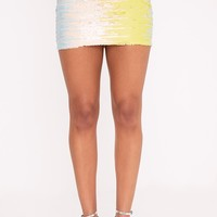 Haider Baby Blue Sequin Mini Skirt