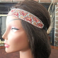 Floral Boho headbands, Ribbon headband,Fashion hair accessories, Hippie, Gray and Red floral hair band with elastic back for women