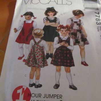 SALE 1 Hour Jumper McCall's Sewing Pattern, 7783! Toddler, Size 2-4, Girls, Jumpers. Summer & Spring Dresses, Aline Criss Cross Style