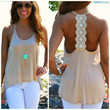 Scoop Neck Tank with Lace Accents