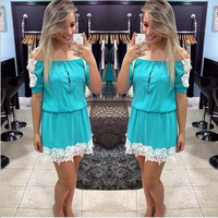 Lace Splicing Chiffon Off Shoulder Short Sleeve Short Dress