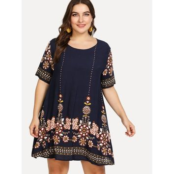 Plus Tribal Flower Print Tunic Dress
