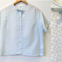 Vintage 1950's Blouse - Ice Blue 50's Blouse - Bust 46 - Large - Clearance