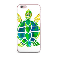 "Catherine Holcombe ""Turtle Love"" Green Teal iPhone Case"