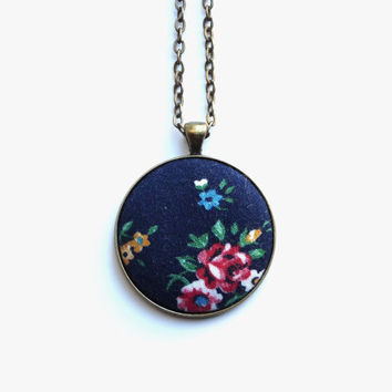 Navy Blue Floral Necklace, Fabric Button Pendant, Pretty Flowers, Eco Jewelry, Boho Chic Necklace, Spring Fashion