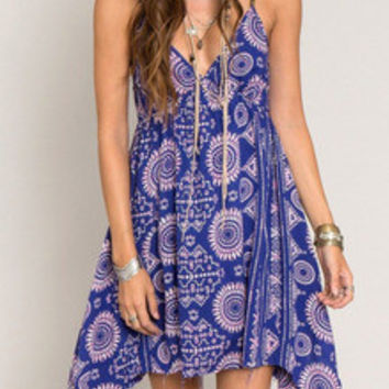 Blue Spaghetti Strap Backless Tradition Vintage Print Dress