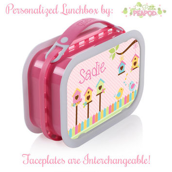 Birdie Lunchbox - Personalized Lunchbox with Interchangeable Faceplates - Double-Sided Springtime Birdies N Birdhouses Lunchbox