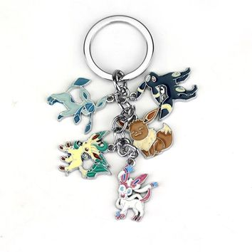Anime Pokemon Pocket Monster Keychain Eevee Sylveon Umbreon Glaceon Leafeon Unisex Keyring Pendant Fans Gift Collectable