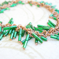 Shaggy loops chainmail bracelet, copper wire with green bugle beads