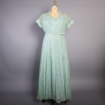 50s Seafoam Green Lace GOWN / Pastel Mint Party DRESS, xl