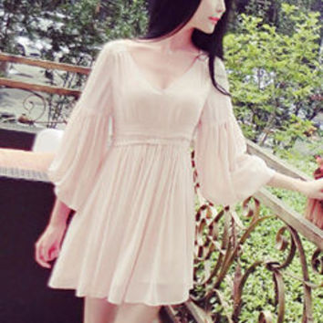 Simple Design Long Lantern Sleeve Chiffon Dresses