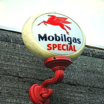 Old Mobilgas Gas Station Photograph - Red Pegasus Art Print