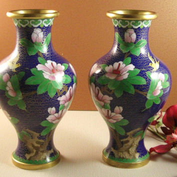 2 Chinese Cloisonne Vases // Flowers Bird // Matched Pair // from Successionary