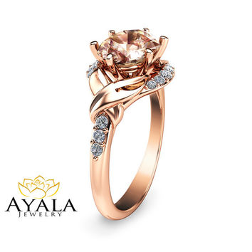 14K Rose Gold Morganite  Engagement ring-Oval Engagement Ring-Oval Cut Morganite