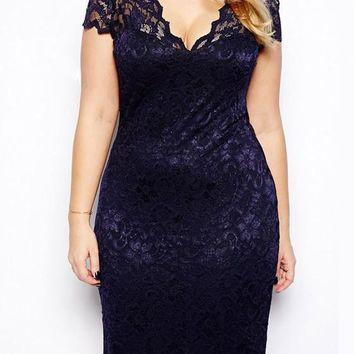 Violet Patchwork Lace V-neck Short Sleeve Elegant Midi Dress