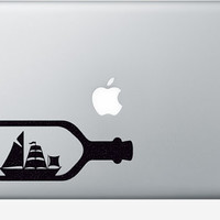 Ship In A Bottle Fabric Laptop Sticker - Nautical Computer Decal - Boat Wall Decal - Retro Wall Decor - Sea Stickers